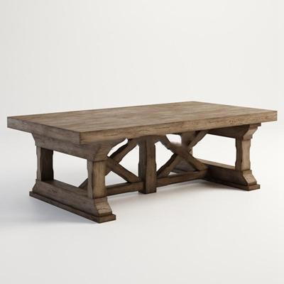 北欧复古实木做旧茶几造型茶几3D模型【ID:16919822】