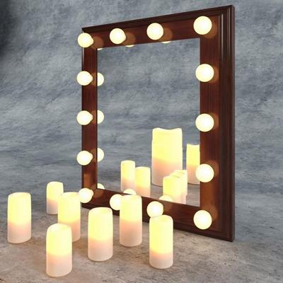 欧式LED灯泡壁挂式化妆镜欧式3D模型【ID:16925895】