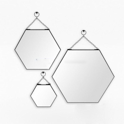 极简六边形蜂窝壁挂装饰镜模型3D模型【ID:16925994】