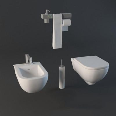 马桶012白色3D模型【ID:16934593】