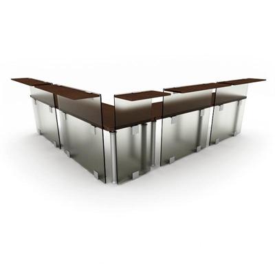 现代工艺磨砂玻璃隔板办公桌2欧式3D模型【ID:16937594】