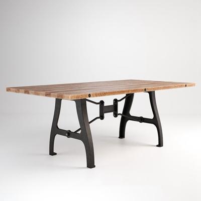 现代工业风格原木金属桌腿桌子2圆形3D模型【ID:16942526】