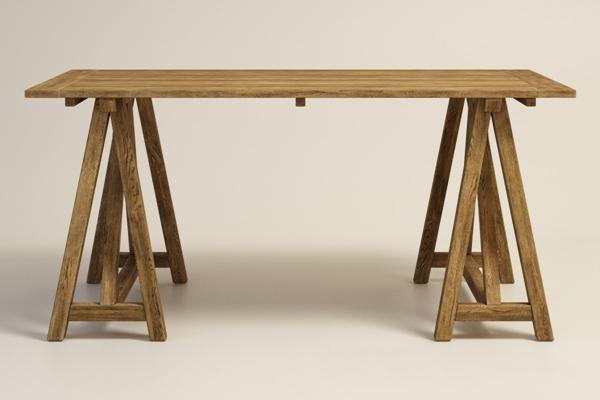 美式简约原木长木桌1圆形3D模型【ID:16957420】