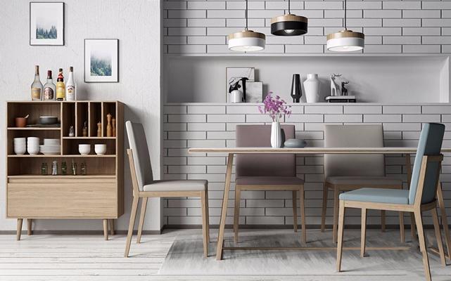 北欧餐桌椅组合3D模型【ID:16959830】