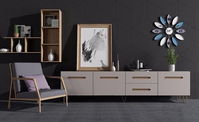 北欧现代电视柜单椅组合3D模型【ID:16960422】