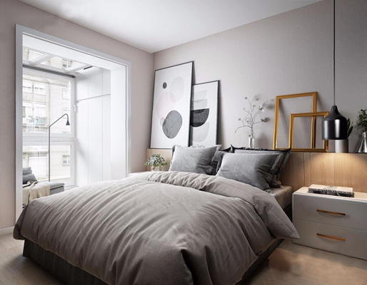 现代简约北欧卧室3D模型【ID:16960806】