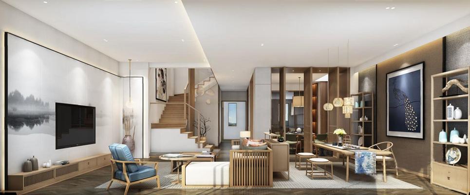 新中式日式客厅茶室3D模型【ID:16960883】