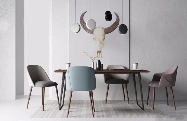 北欧餐桌椅组合3D模型【ID:16960925】