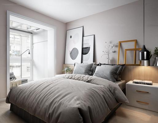 现代简约卧室3D模型【ID:16962633】