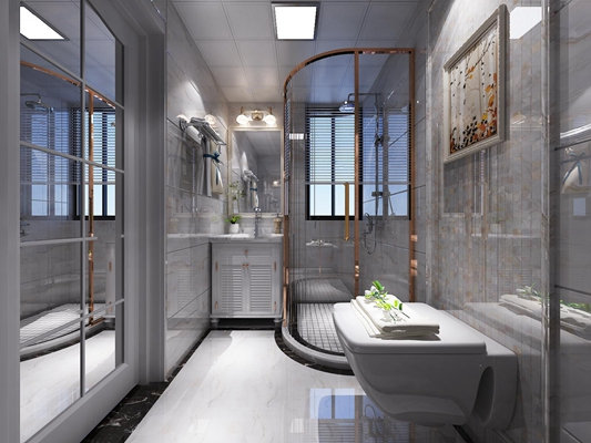 现代卫生间淋浴房3D模型【ID:16963266】