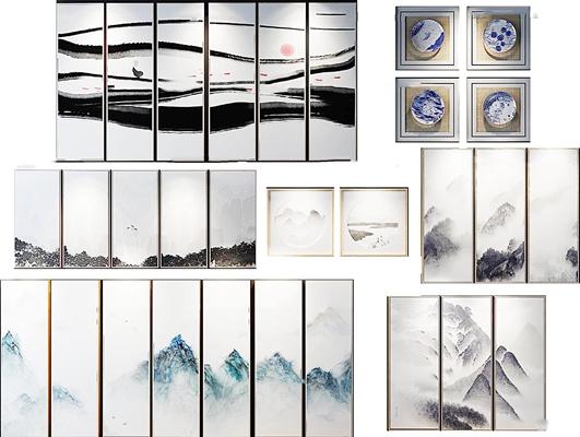 新中式装饰画组合3D模型【ID:16968901】