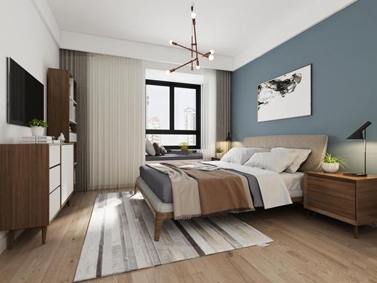 北欧卧室3D模型【ID:16973033】