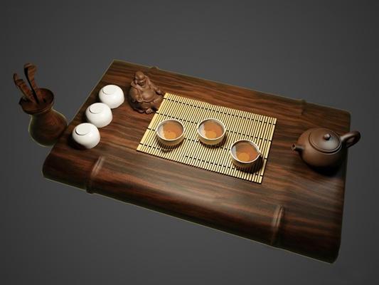 新中式茶具组合3D模型【ID:16975508】
