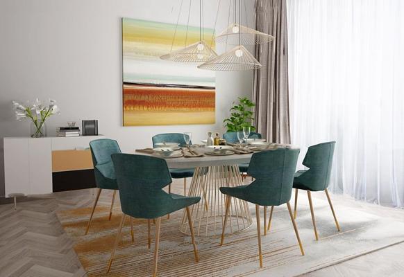 北欧餐厅餐桌椅餐具吊灯组合3D模型【ID:16975988】