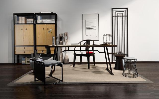 新中式实木书桌椅装饰柜组合3D模型【ID:16989598】