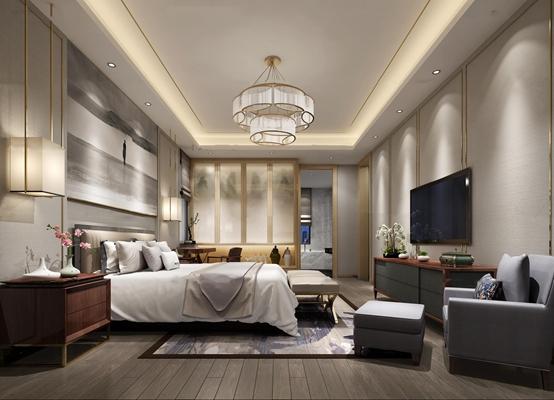 新中式卧室主人房3D模型【ID:16990636】