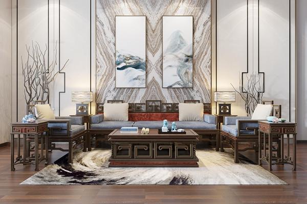 中式多人沙发茶几台灯装饰画组合3D模型【ID:16996105】