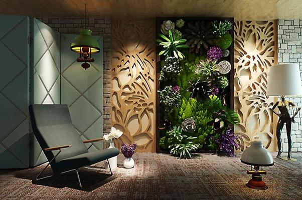 现代植物墙休闲椅落地灯组合3D模型【ID:16996315】