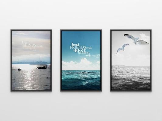 北欧大海海鸥海报装饰画3D模型【ID:16998000】