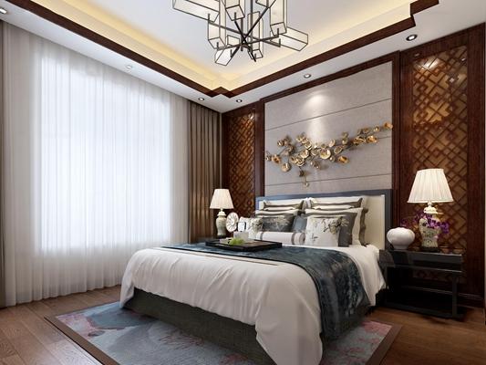 中式卧室3D模型【ID:16998334】