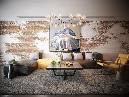 工业风皮革转角多人沙发休闲椅茶几吊灯装饰画组合3D模型【ID:16999309】