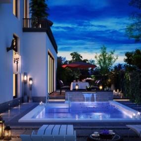 现代庭院花园夜景3D模型【ID:928557943】