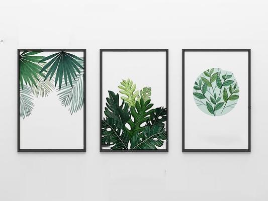 北欧绿植装饰画3D模型【ID:17001305】