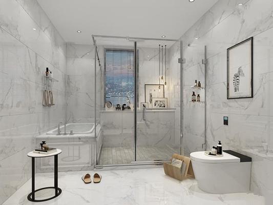现代浴室卫生间3D模型【ID:17001367】