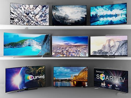 现代数字液晶曲屏曲面电视显示器3D模型【ID:17005436】