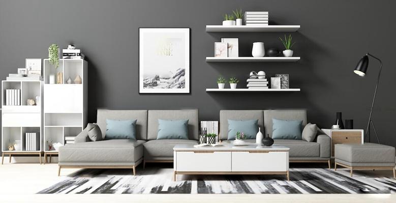 现代布艺沙发边柜装饰画摆件茶几组合3D模型【ID:17005707】