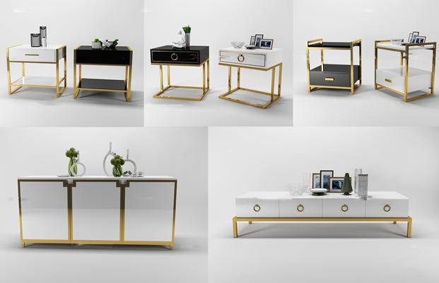 新中式电视柜餐边柜角几组合3D模型【ID:17013333】