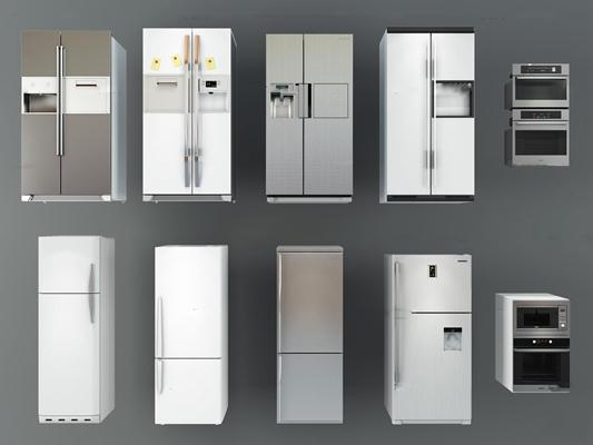 现代冰箱烤箱组合3D模型【ID:17015228】