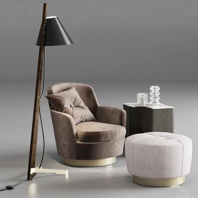 北欧休闲休闲沙发角几个性落地灯玻璃摆件3D模型【ID:17024920】