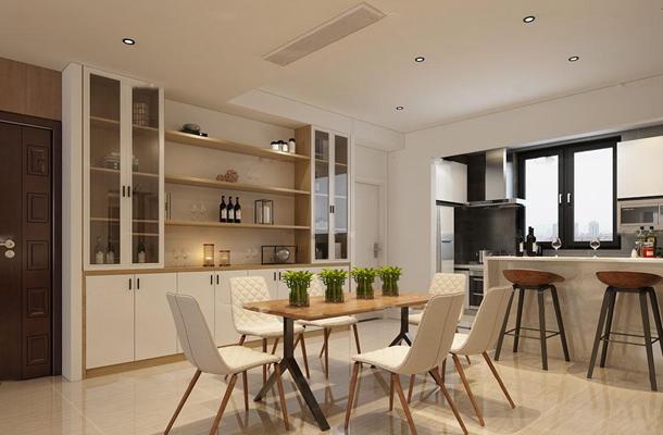 北欧客厅餐厅敞开式厨房吧台3D模型【ID:17026083】