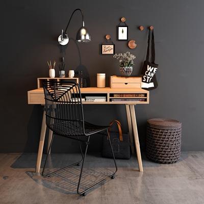工业风书桌椅壁灯饰品挂件3D模型【ID:17030996】