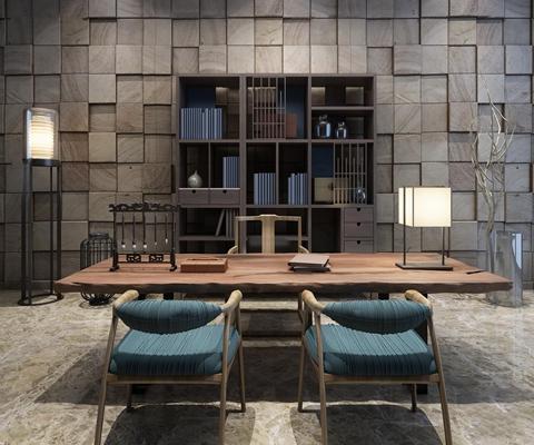 新中式书桌椅书柜落地灯台灯摆件3D模型【ID:17031493】