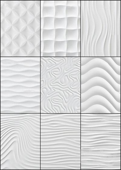 现代波浪板饰墙板组合3D模型【ID:17031812】