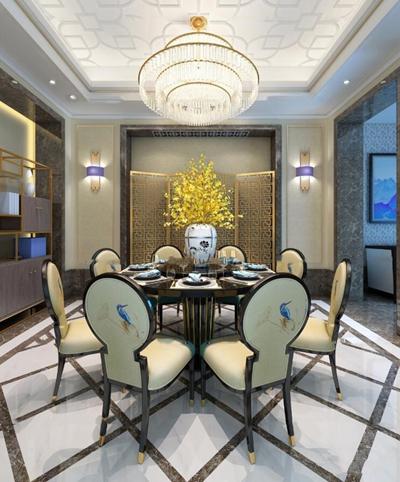 新中式餐厅圆形餐桌椅组合3D模型【ID:17032889】