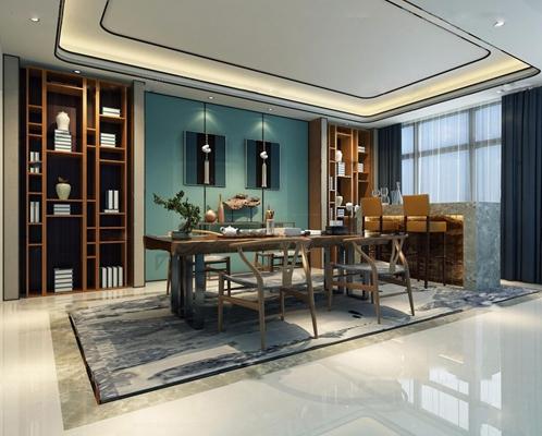 新中式书房茶室3D模型【ID:17033171】