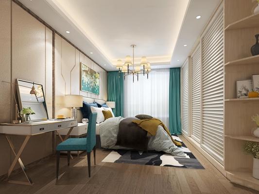 现代卧室主人房3D模型【ID:17034533】