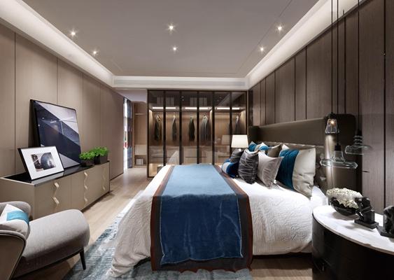 现代卧室主人房3D模型【ID:17034738】
