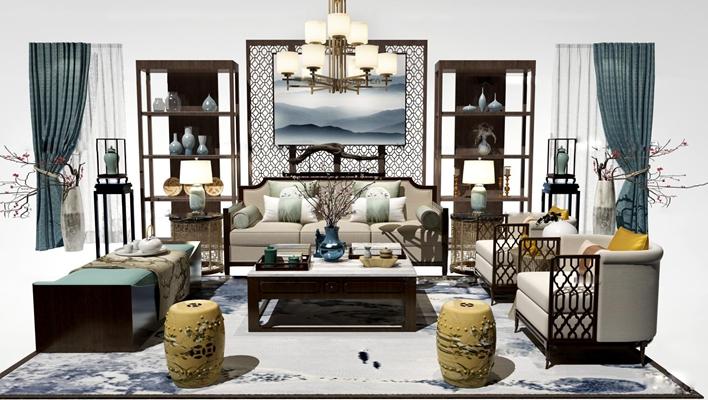 中式布艺沙发茶几凳子装饰架吊灯组合3D模型【ID:17035103】