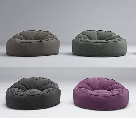 现代布艺休闲懒人沙发3D模型【ID:17038325】