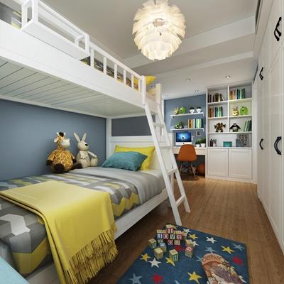 現代上下床兒童房3D模型【ID:17040128】