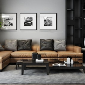 现代皮革转角沙发茶几博古架3D模型【ID:17044006】