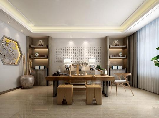 新中式书房茶室3D模型【ID:17044078】