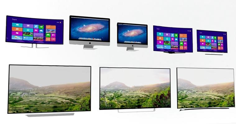 显示器电视组合3D模型【ID:17045035】