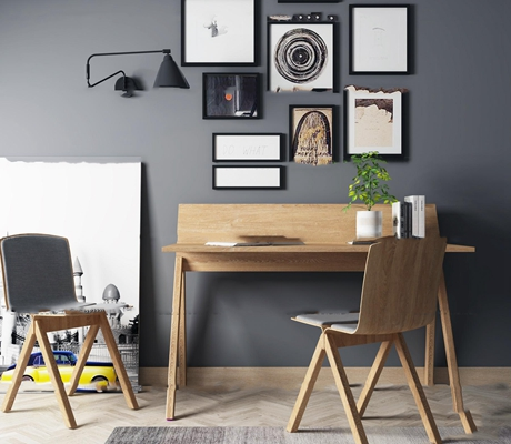 北欧书桌椅装饰画组合3D模型【ID:17048398】