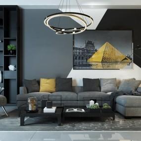 现代转角沙发茶几吊灯装饰画组合3D模型【ID:17048401】
