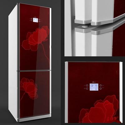 现代单开门冰箱3D模型【ID:17048520】
